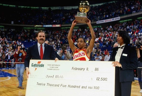 Spud Webb collects his accolades after winning the 1986 Dunk Contest