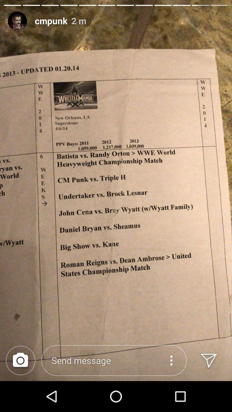 The WrestleMania 30 match card Punk posted in his Instagram story