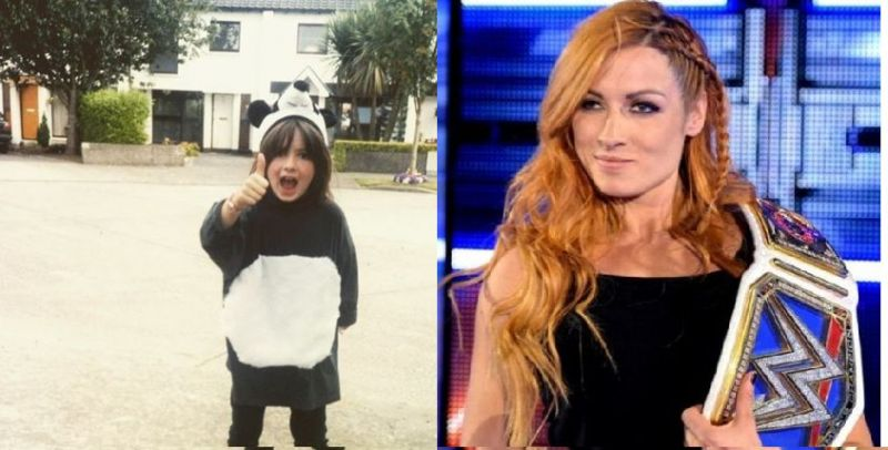 Lynch as a kid, and as WWE SmackDown Live Women