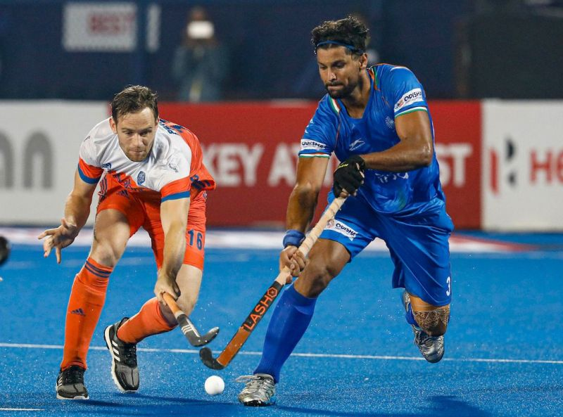 Rupinder in action against the Netherlands (PC: Hockey India)