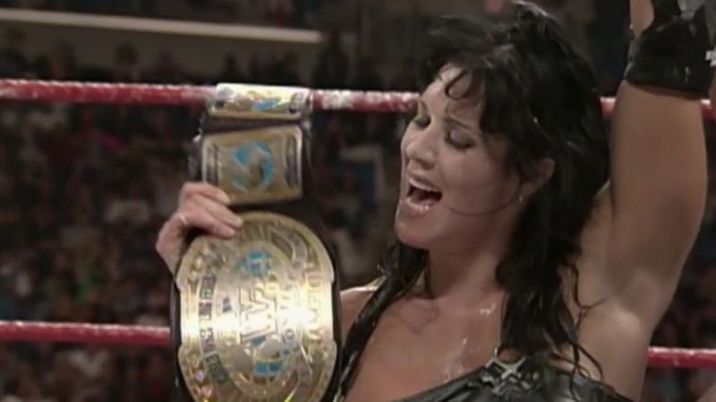 Chyna holds up the Intercontinental championship she had just won in 1999.
