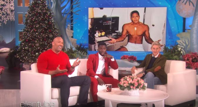 The Rock not-so-little (Pic Source: The Ellen Show)