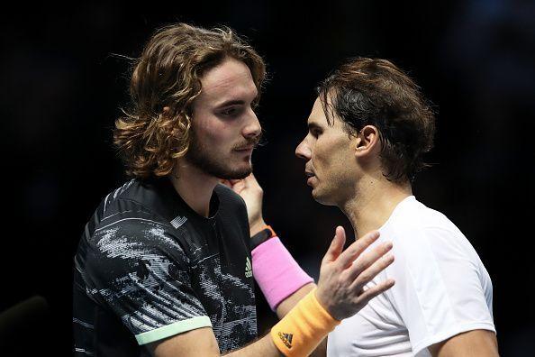 Stefanos Tsitsipas (L) and Rafael Nadal