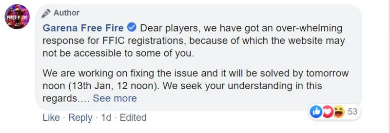 Garena responds to the issue