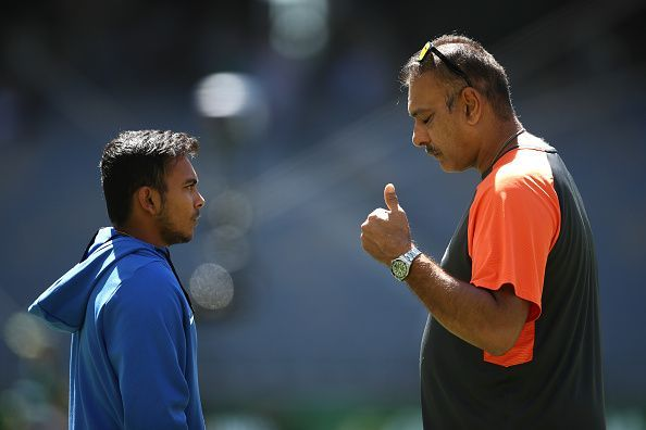 Prithvi Shaw getting tips from Indian head coach Ravi Shastri
