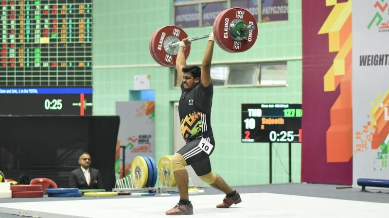 Weightlifting competition at the Khelo India Youth Games 2020