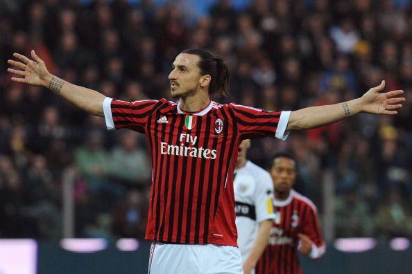 Zlatan Ibrahimovic in action for AC Milan