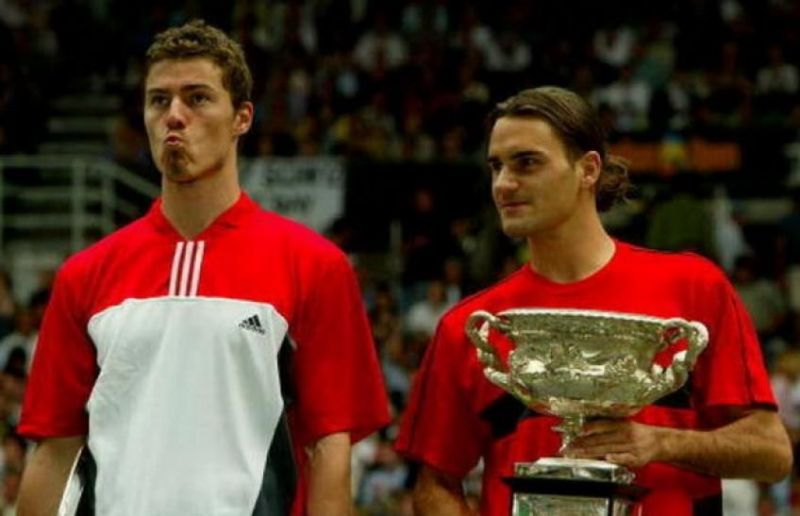 Federer (right) captures his 2nd Grand Slam title at the 2004 Australian Open