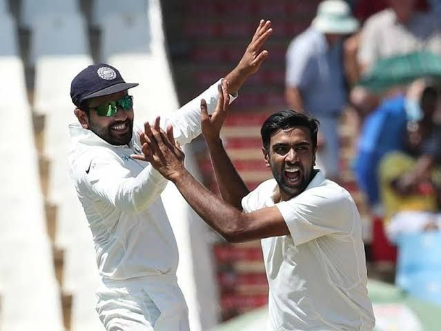 R Ashwin celebrates the fall of a wicket