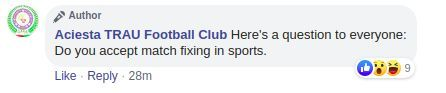 Facebook comment by TRAU FC