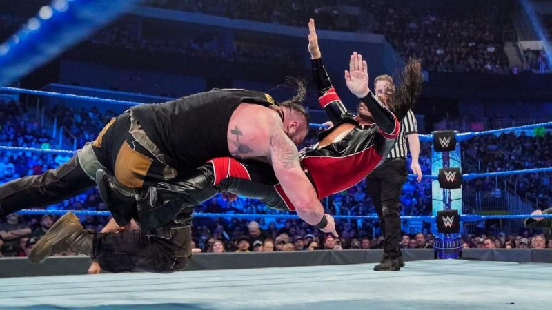 Strowman and Nakamura in action