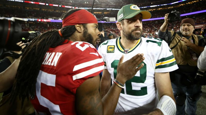 Richard Sherman and Aaron Rodgers - cropped