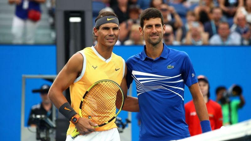 Nadal (right) and Djokovic