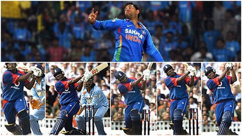 Yuvraj Singh getting hit for five sixes in an over by Mascarenhas