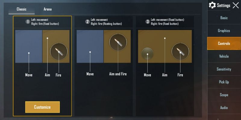 The layout of in-game controls can be changed as per the comfort.
