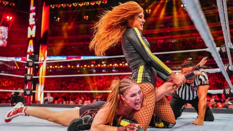 Lynch trying to submit Rousey