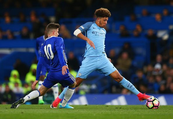 Jadon Sancho playing for Manchester City
