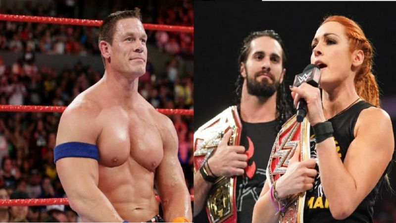 John Cena, Seth Rollins, and Becky Lynch