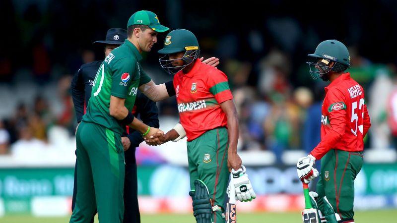 Pakistan paceman Shaheen Afridi shakes hands with Bangladesh