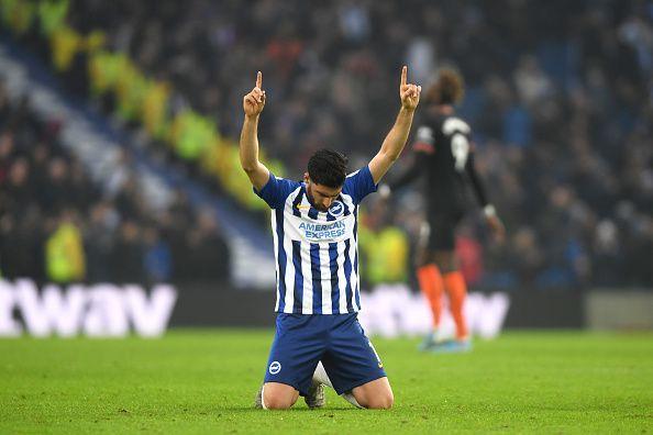 Alireza Jahanbakhsh celebrates his amazing goal against Chelsea