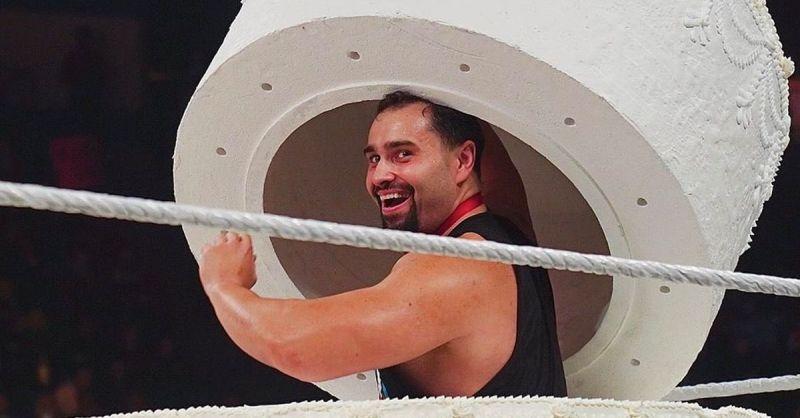 Rusev, inside the cake!
