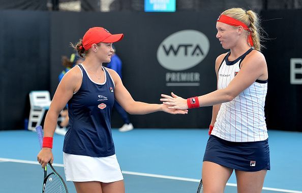 Ashleigh Barty (left) and Kiki Bertens have been on a roll