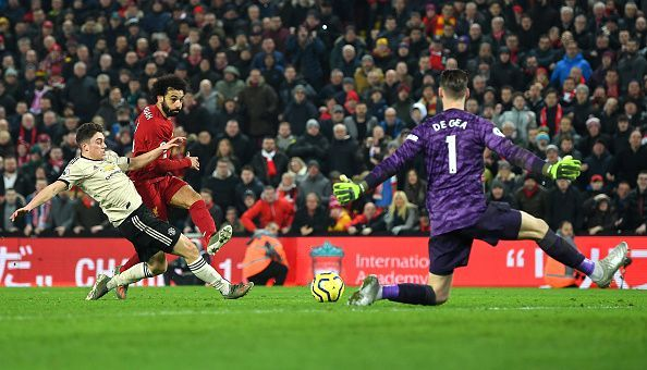 James fails to stop Mohamed Salah from scoring at Anfield on Sunday