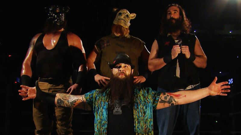 The Wyatt Family (left to right in back: Braun Strowman, Erick Rowan, Luke Harper, front: Bray Wyatt)