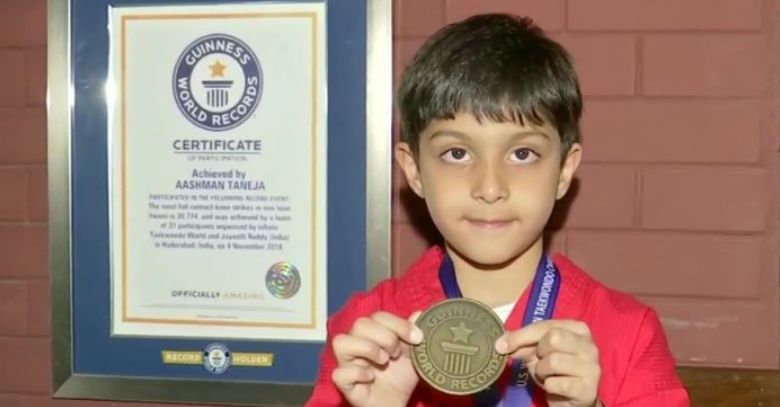 Aashman Taneja of Hyderabad with his certificate and medal from Guinness