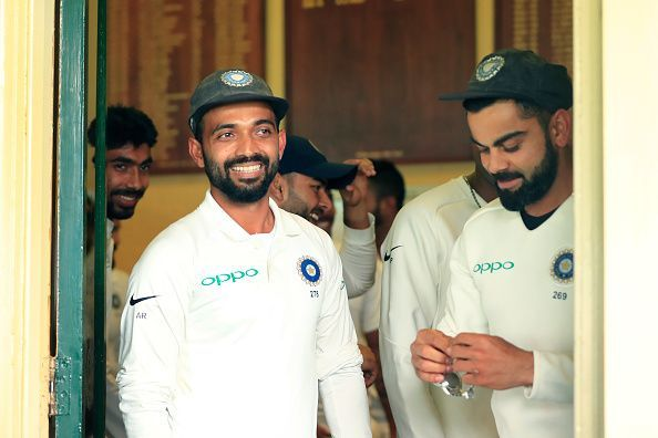 Rahane (left) led India in the absence of regular skipper Kohli against Afghanistan.