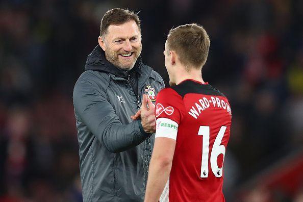 Southampton boss Ralph Hasenhüttl celebrates with James Ward-Prowse
