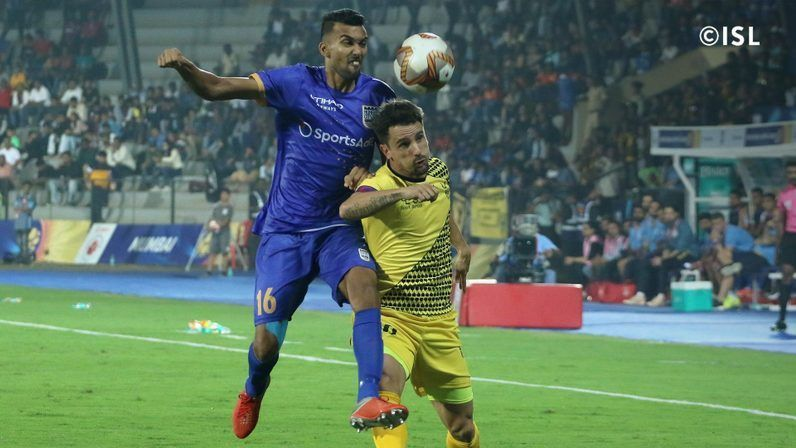 Sarthak (L) was sent off against Hyderabad FC on the 29th of December, 2019