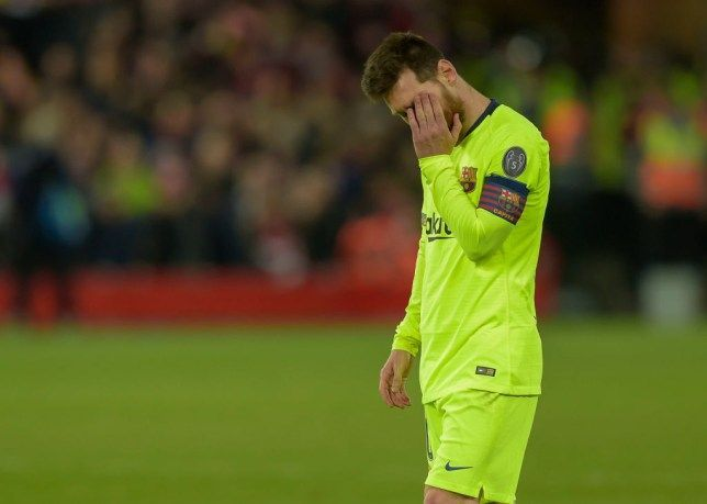 Lionel Messi looking dejected after the loss against Liverpool