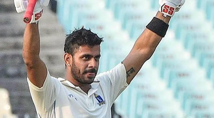 Manoj Tiwary after his triple century against Hyderabad