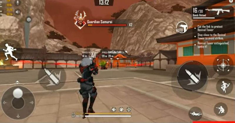 samurai boss starts to destroy towers when he reaches 1x bar of his health