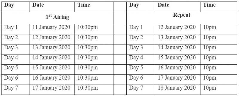 Telecast timings
