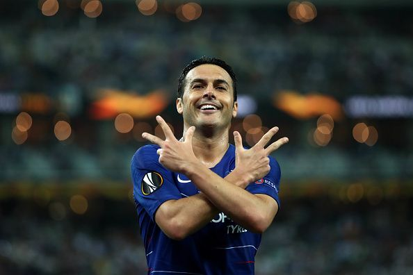 Pedro celebrates after sealing the deal for Chelsea in the UEL final against Arsenal