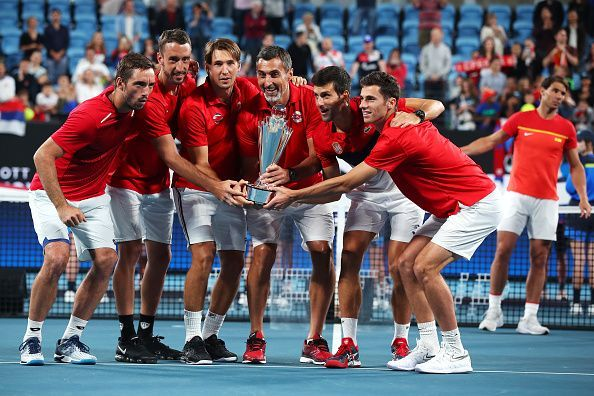 Novak Djokovic with the victorious Serbian team at the end of the ATP Cup