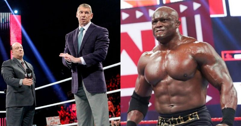 Paul Heyman, Vince McMahon, and Bobby Lashley.