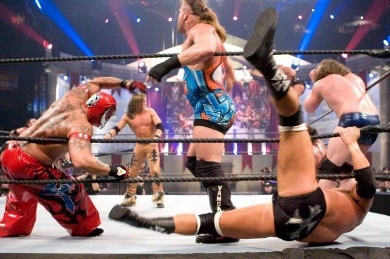 RVD, Triple H and Rey Mysterio were joined by Randy Orton for this all star clash.