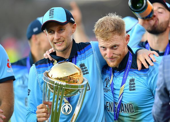 Ben Stokes (right) and Joe Root (left) celebrating the CWC