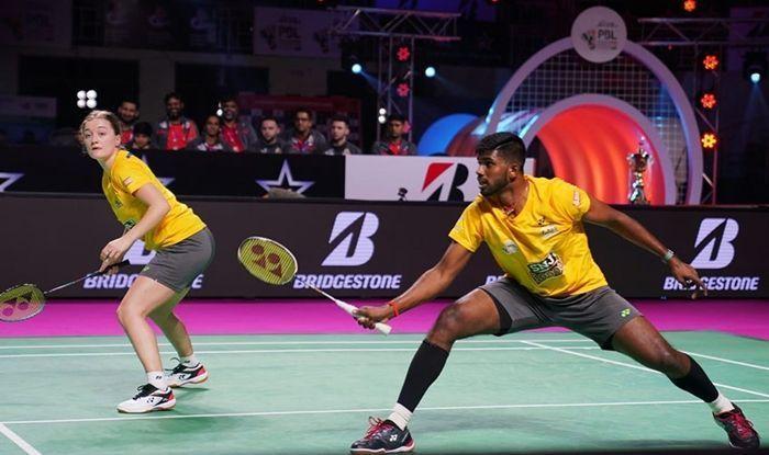 Satwik Sairaj Rankireddy in action for the Superstarz