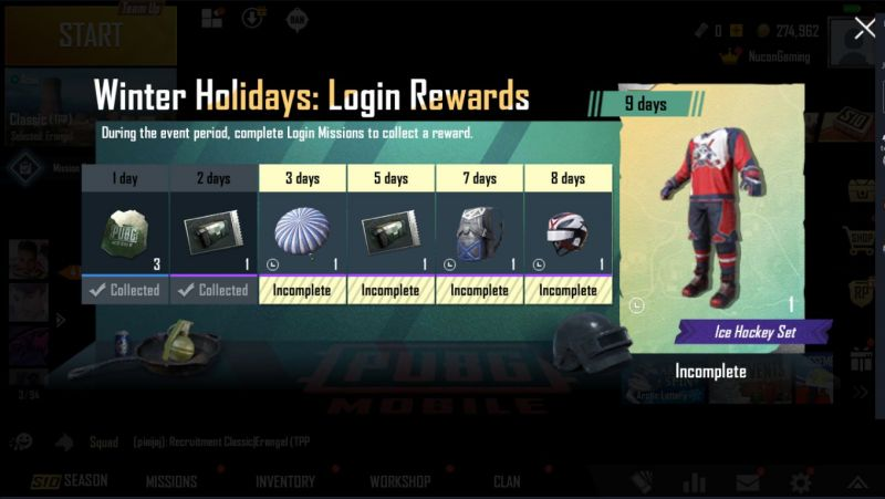 PUBG Mobile Winter Event Rewards