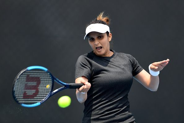 Sania Mirza in action in Hobart on Tuesday