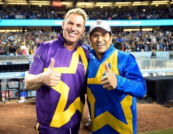 Shane Warne (L) and Sachin Tendulkar