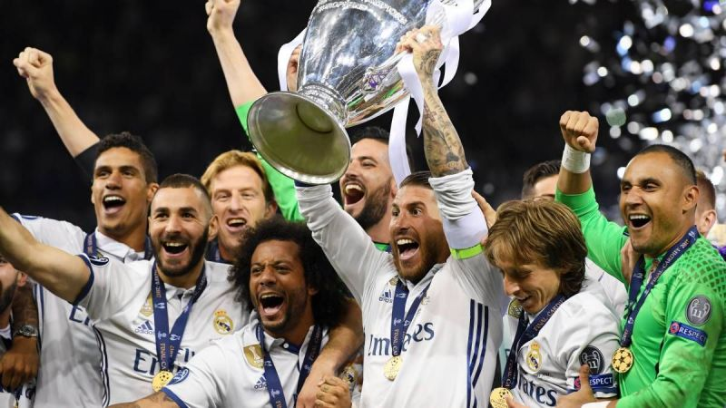 Real Madrid celebrate their 2017-18 Champions League title