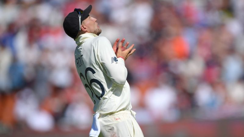 Joe Root catches from Dean Elgar