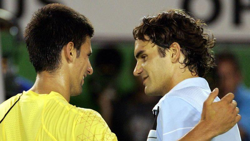 Djokovic (left) and Federer at the 2007 Australian Open