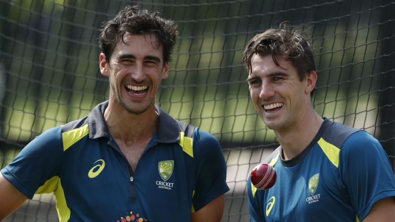 Australia pacemen Mitchell Starc (left) and Pat Cummins