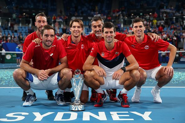 The jubilant Team Serbia wins the inaugural edition of ATP Cup 2020